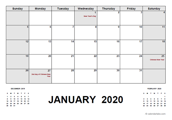 2020 Calendar with Malaysia Holidays PDF