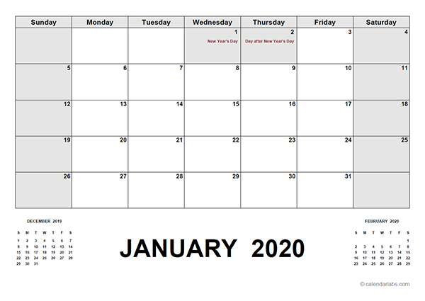 2020 Calendar with New Zealand Holidays PDF