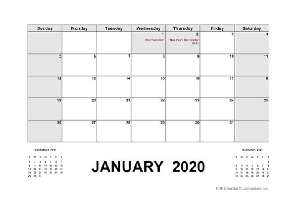 2020 Calendar with South Africa Holidays PDF