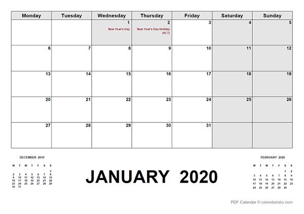 2020 Calendar with UK Holidays PDF