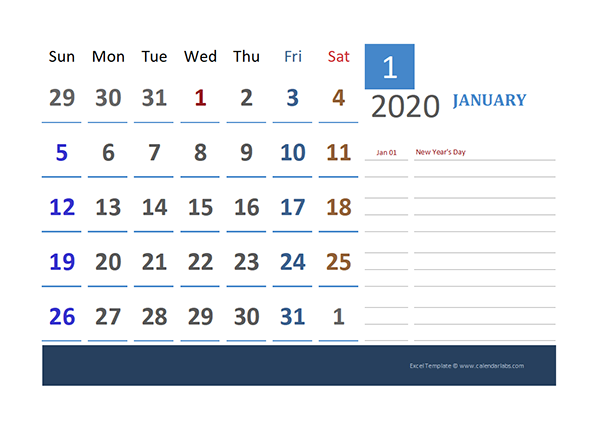 2020 Canada Calendar for Vacation Tracking