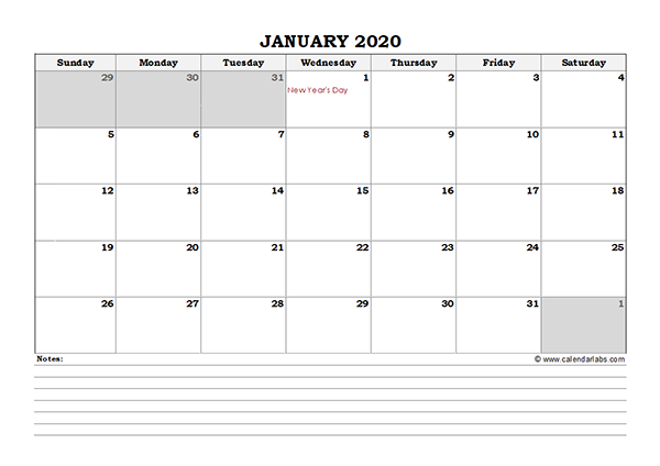 2020 Canada Monthly Calendar with Notes