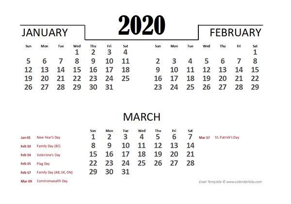 2020 Canada Excel Quarterly Calendar