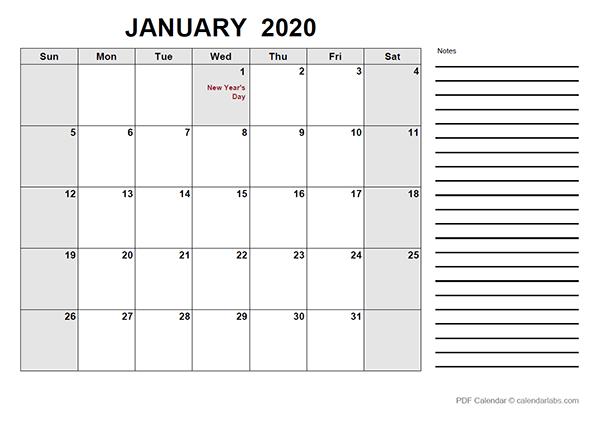 2020 Canada Free Calendar PDF Template