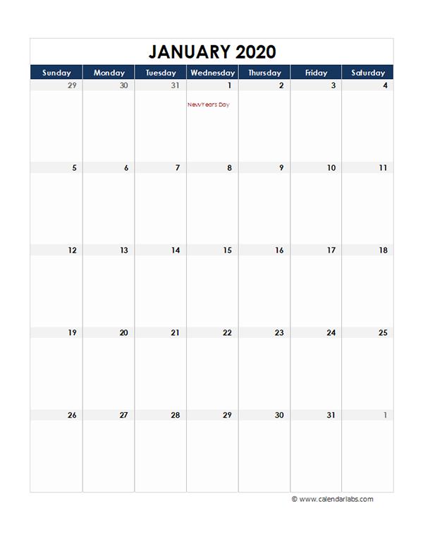 2020 Canada Monthly Excel Calendar