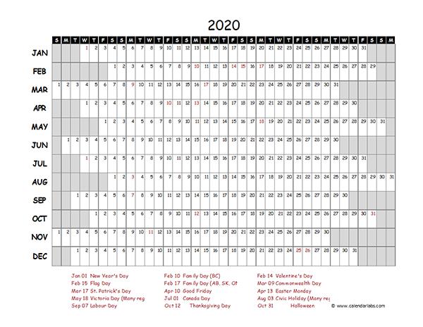 2020 Canada Project Timeline Calendar