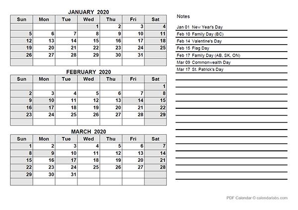 2020 Canada Quarterly Calendar Template