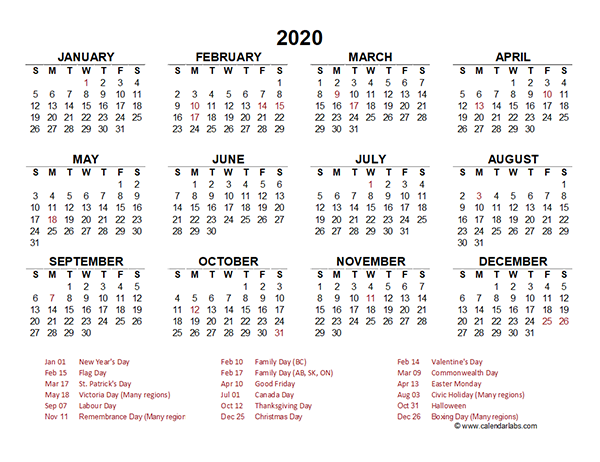 2020 canada yearly calendar template excel