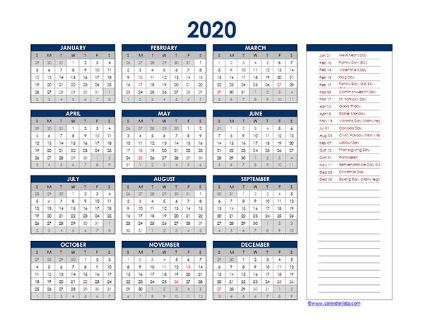2020 Canada Yearly Excel Calendar
