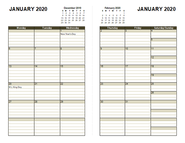 2020 Diary Planner Template