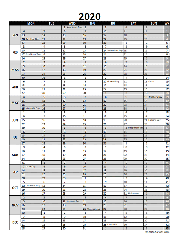 free 2020 excel calendar for project planning
