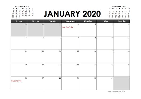 2020 Excel Calendar Planner Australia
