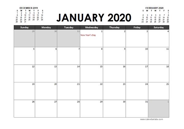 2020 Excel Calendar Planner Canada