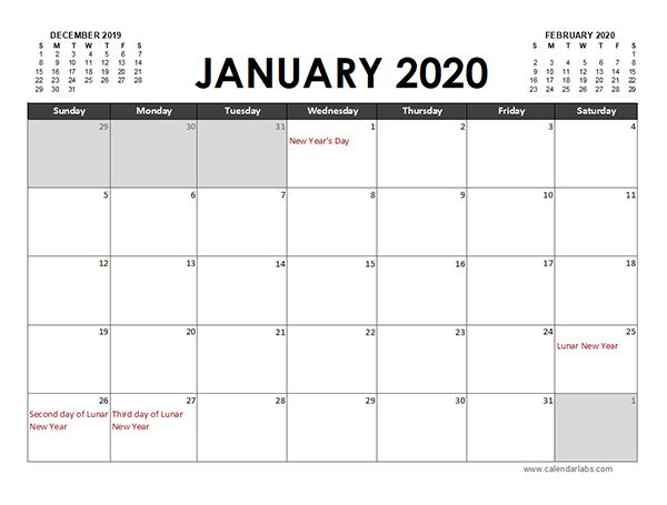 2020 Excel Calendar Planner Hong Kong