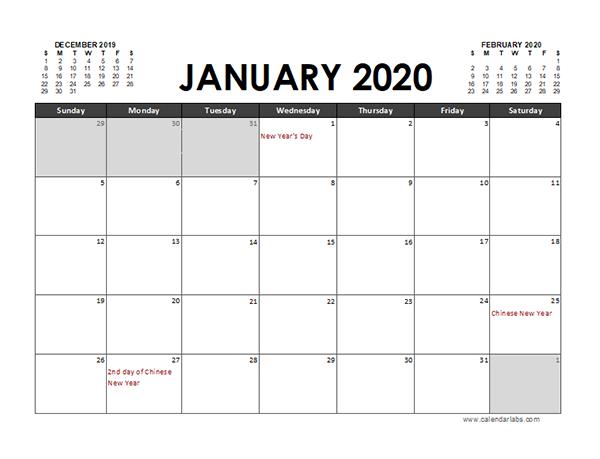 2020 Excel Calendar Planner Malaysia