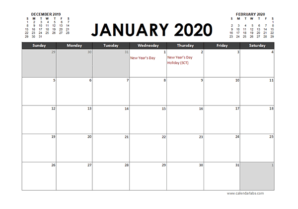 2020 Excel Calendar Planner South Africa