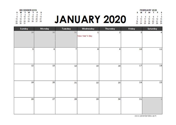 2020 Excel Calendar Planner Thailand