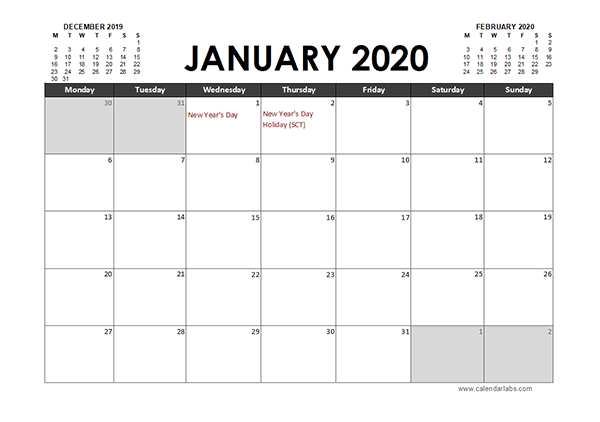 2020 Excel Calendar Planner UK