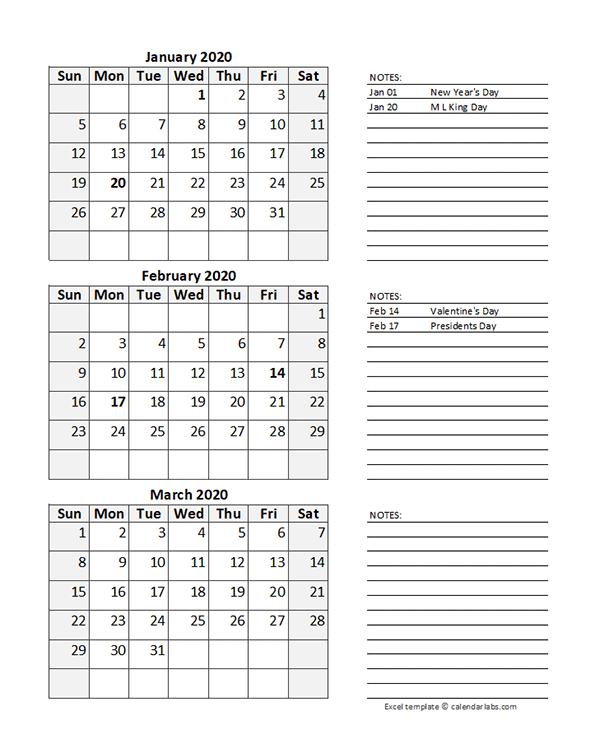 Free 2020 Quarterly Calendar Spreadsheet
