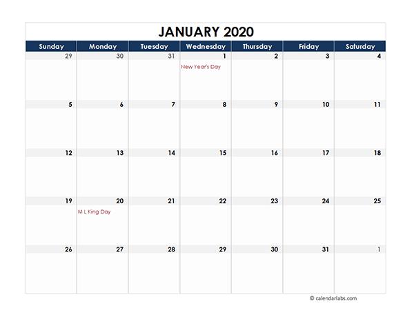 2020 Excel Calendar Spreadsheet Template