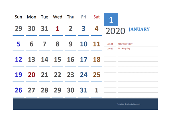 2020 Excel Calendar for Vacation Tracking