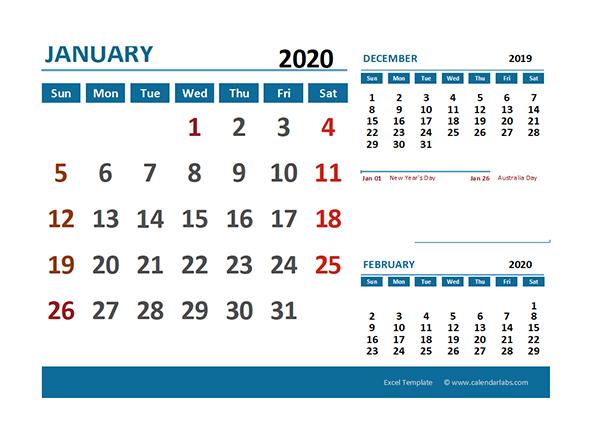2020 Excel Calendar with Australia Holidays