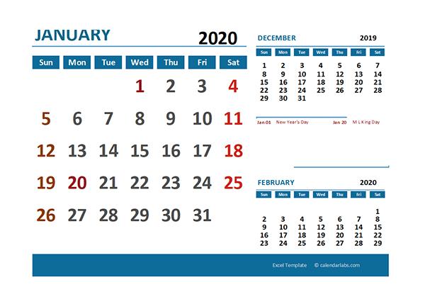 2020 Excel Calendar with Holidays