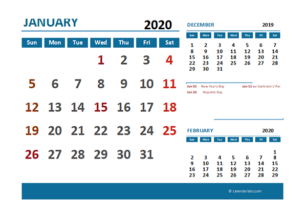 2020 Excel Calendar with India Holidays