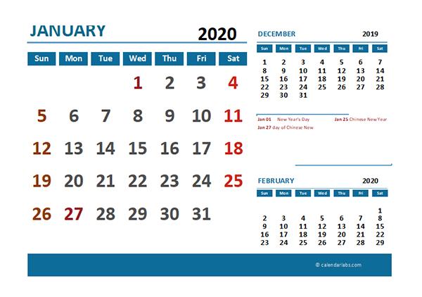 2020 Excel Calendar with Malaysia Holidays