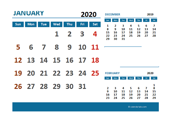 2020 Excel Calendar with Pakistan Holidays