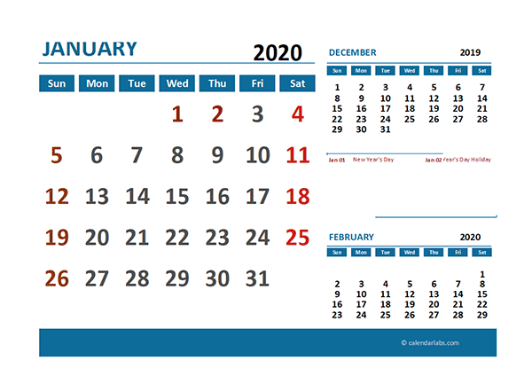 2020 Excel Calendar with Singapore Holidays