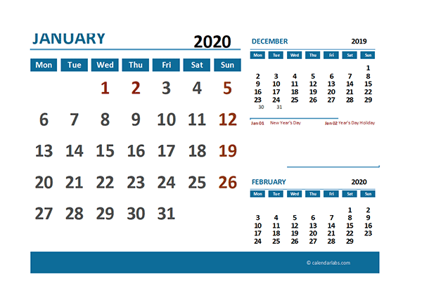 2020 Excel Calendar with UK Holidays