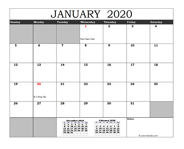 Free 2020 Excel Calendar with US Holidays