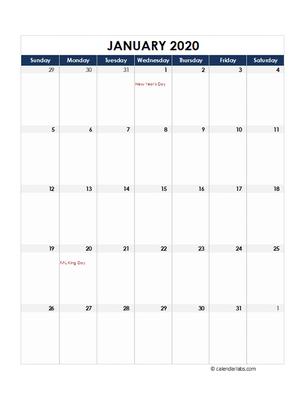 2020 Excel Monthly Calendar Template