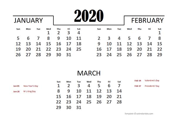 2020 Excel Quarterly Calendar Template