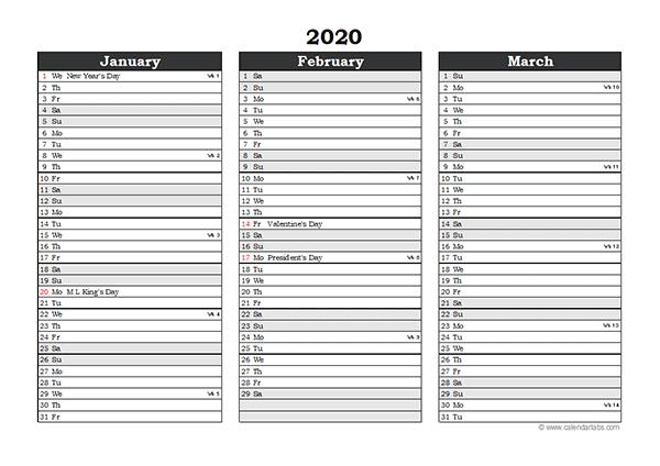 Editable 2020 Excel Three Month Calendar