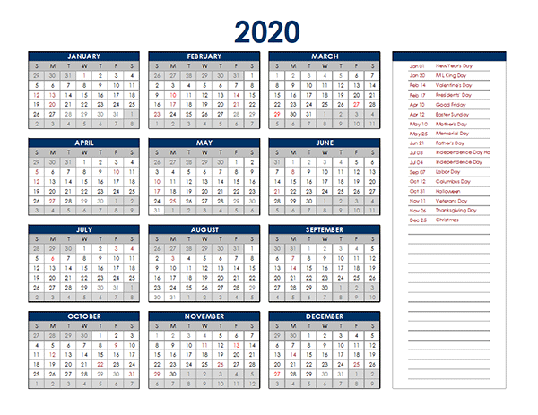 2020 Excel Yearly Calendar