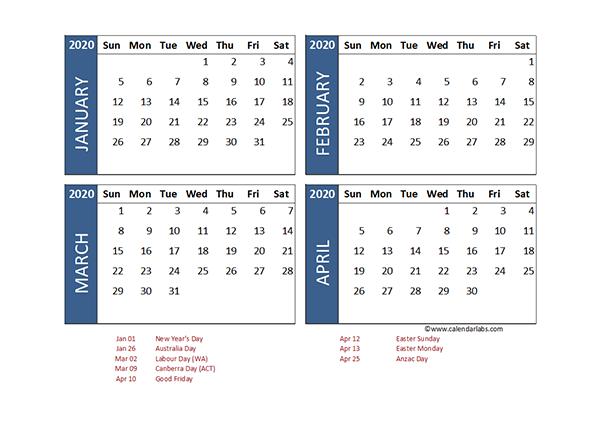 2020 Four Month Calendar Australia Template