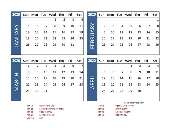 2020 Four Month Calendar India Template