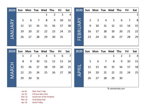 2020 four month calendar indonesia template