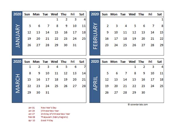 2020 Four Month Calendar Malaysia Template