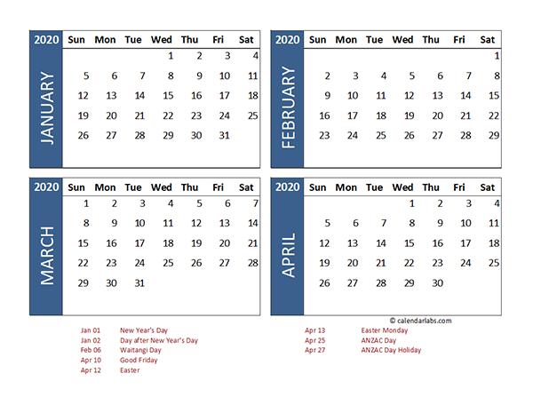 2020 Four Month Calendar New Zealand Template