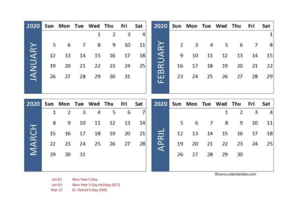2020 Four Month Calendar Singapore Template