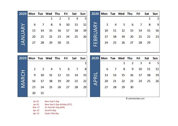 2020 Four Month Calendar UK Template