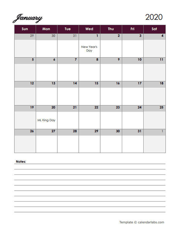 2020 Google Docs Calendar with Large Boxes
