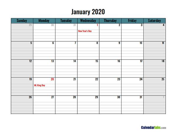 2020 Google Docs Daily Planner