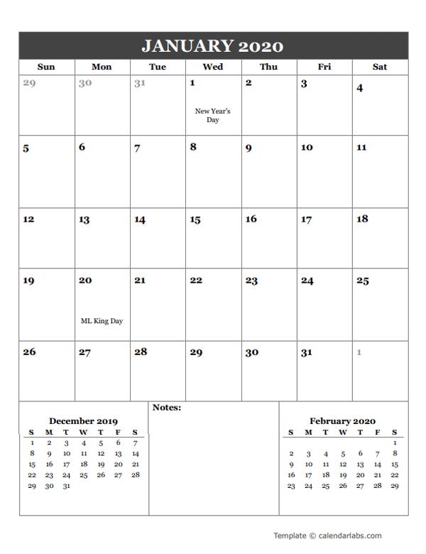 2020 Google Docs Monthly Planner