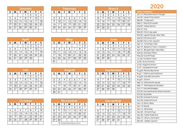 2020 Hindu Festivals Calendar Template