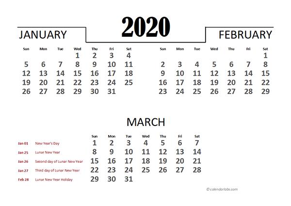 2020 Hong Kong Excel Quarterly Calendar
