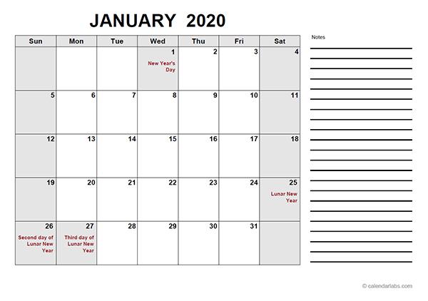 2020 Hong Kong Free Calendar PDF Template